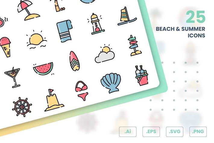 Thumbnail for Strand und Sommer Icons Set