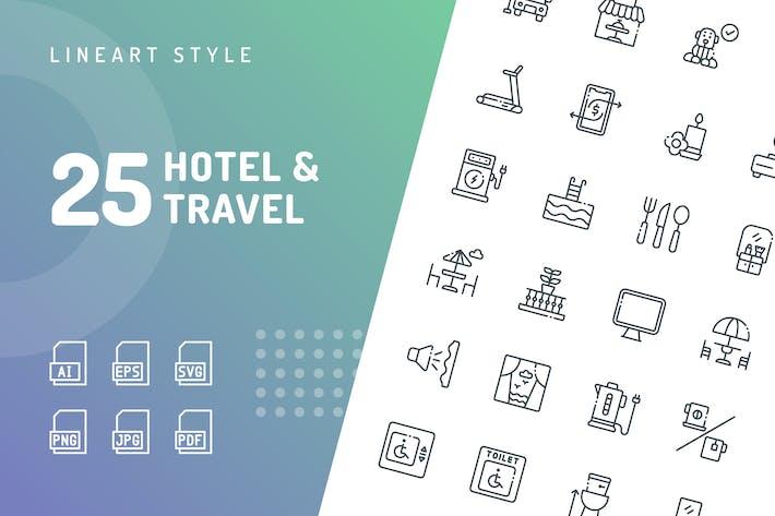 Иконки линии гостиниц и путешествий
