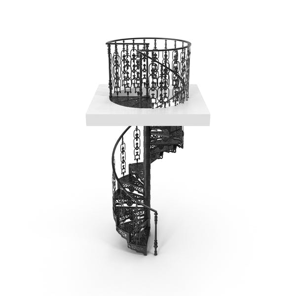 Black Victorian Spiral Iron Staircase