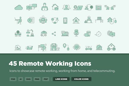 45 Remote Working Icons