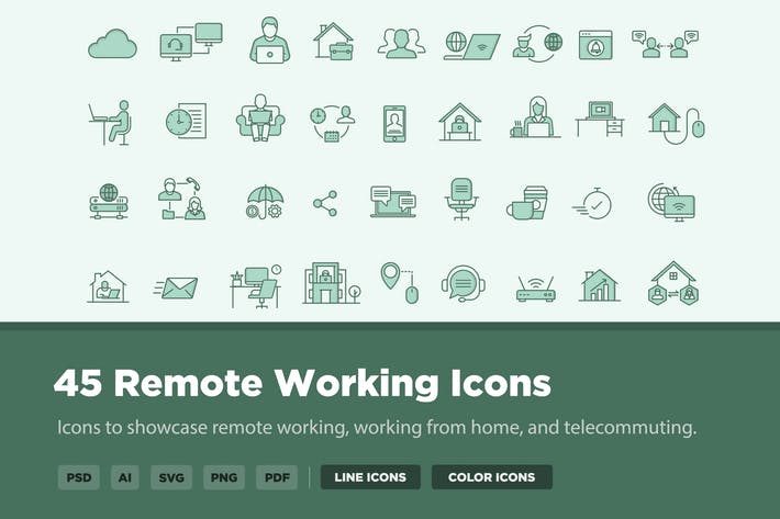 Thumbnail for 45 Remote Working Icons