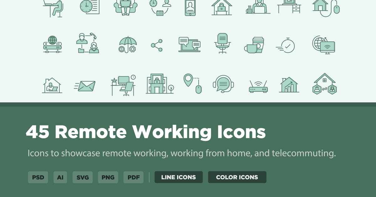 Download 45 Remote Working Icons by creativevip
