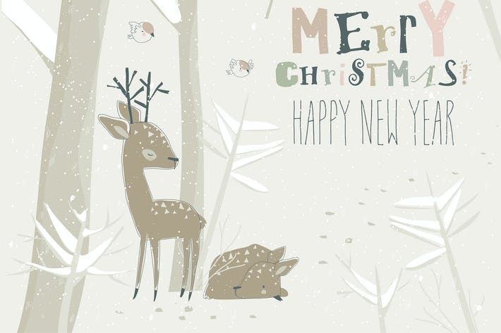 Thumbnail for Cute cartoon little deers in winter forest. Vector