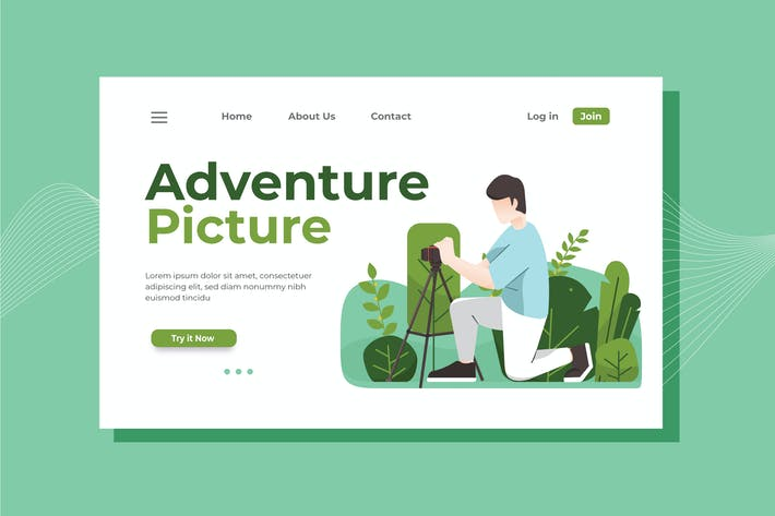 Thumbnail for Adventure Picture Landing Page Illustration