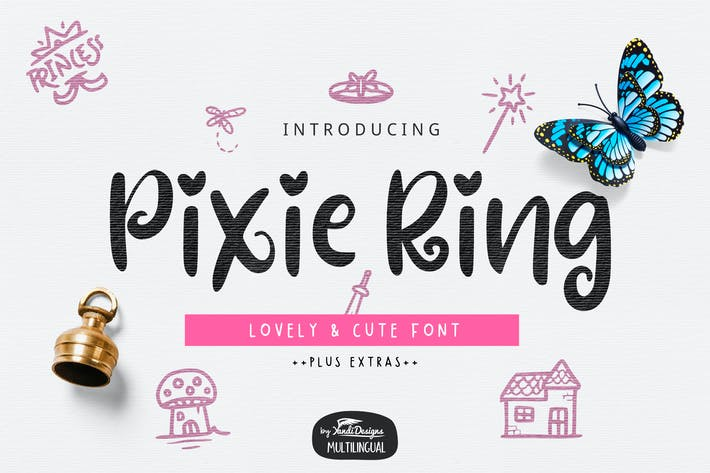 Thumbnail for Pixie Ring Font with Illustrations