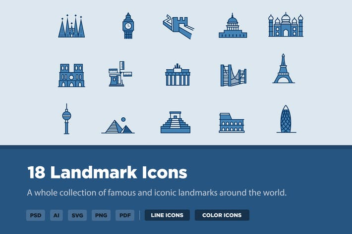 Thumbnail for 18 Landmark Icons