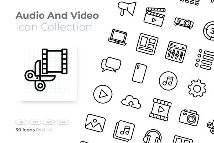 Audio and Video Outline Icon