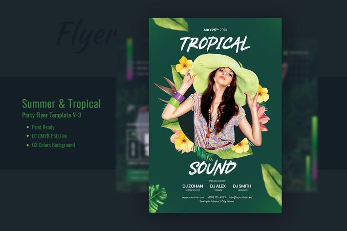 Thumbnail for Summer & Tropical Party Flyer Template V-3