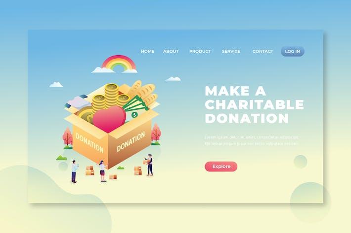 Thumbnail for Make Charitable Donation - PSD and AI Landing Page