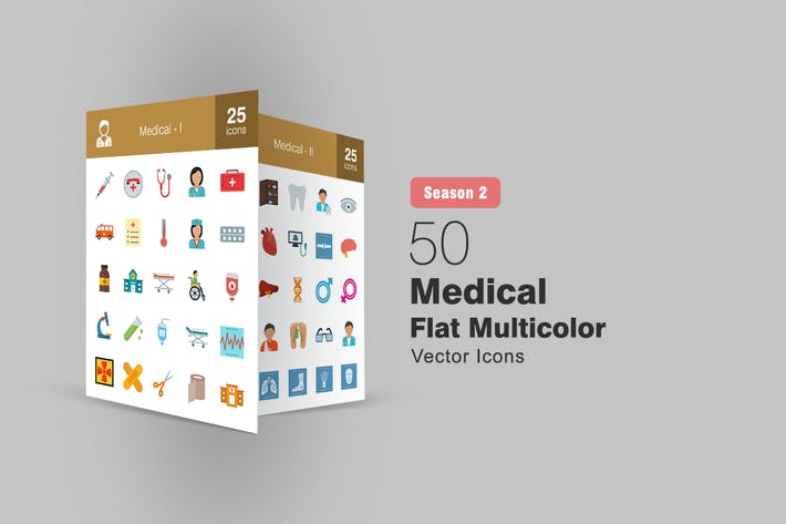 Thumbnail for 50 Медицинские плоские многоцветные Иконки Сезон II