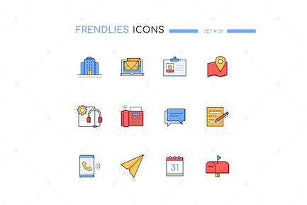 Contact us - modern line design style icons set