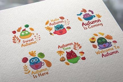 Autumn Owls Badges Set