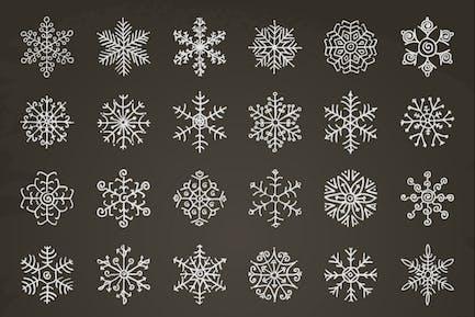 White Winter Snowflakes Doodles. Hand-Drawn Xmas.