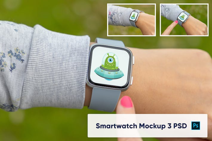Thumbnail for Smar twatch on woman's hand - mockup PSD