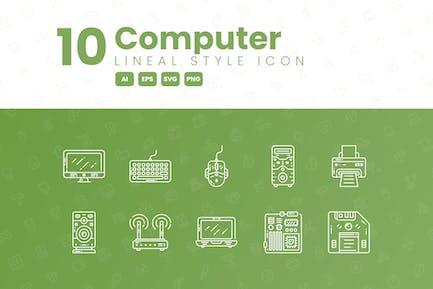10 Computerdetaillierte Icon-Sammlung