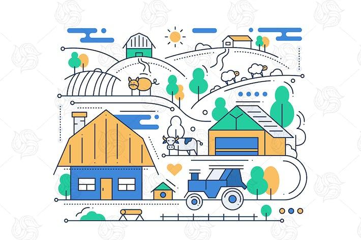 Thumbnail for Farm - line design composition
