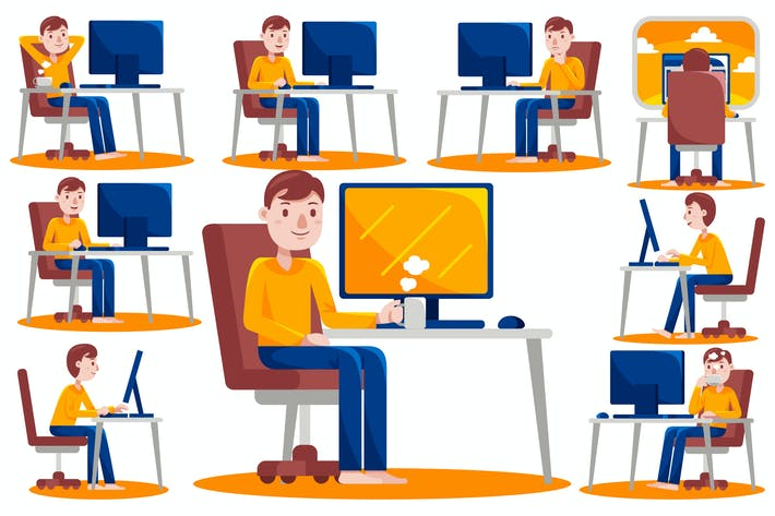 Thumbnail for Man Working with Computer at Home (Vector)