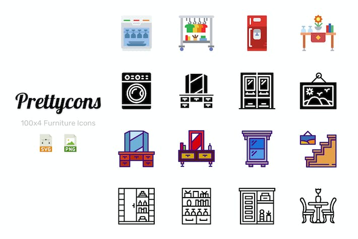 Thumbnail for Prettycons - 400 Furniture Icons Vol.1
