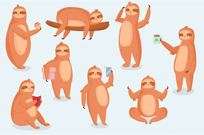 Thumbnail for Sloth Animal Character Different Poses