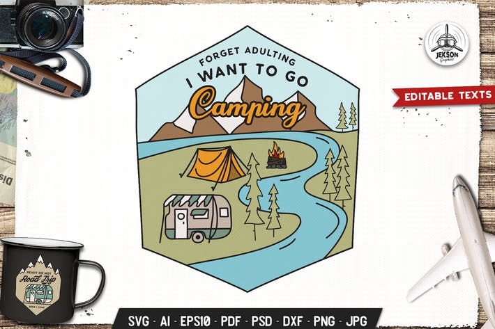Thumbnail for I Want To Go Camp Badge Vector Retro Graphic Logo