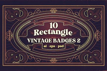 10 Rectangle Vintage Badges 2