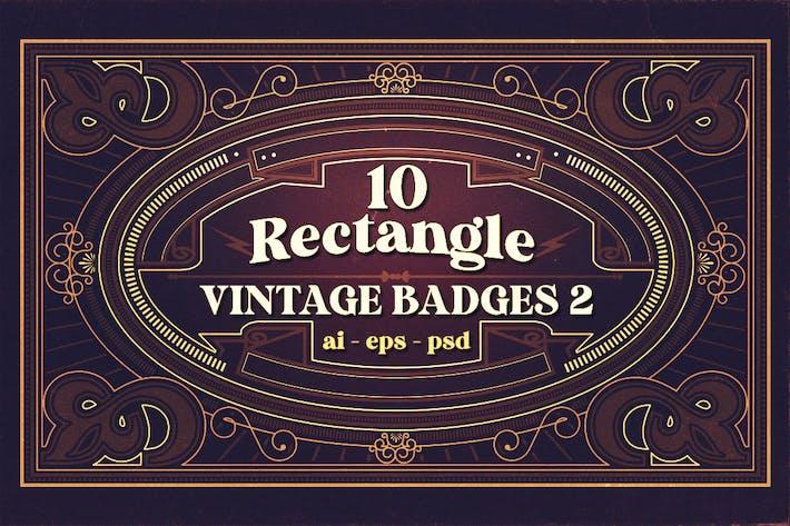 10 rechteckige Vintage-Abzeichen 2