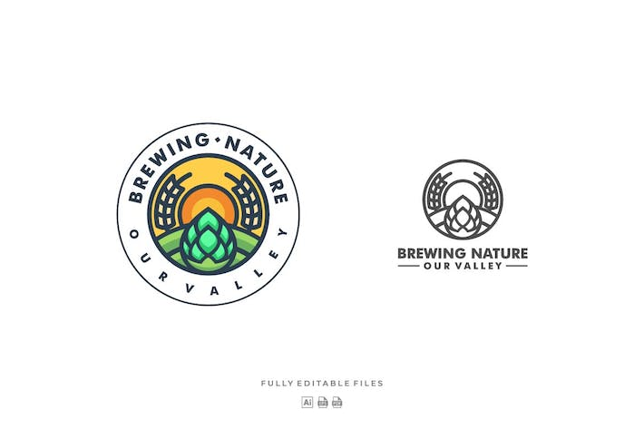 Thumbnail for Nature Badge Line Art Logo Template