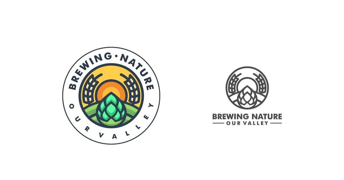 Download Nature Badge Line Art Logo Template by ivan_artnivora