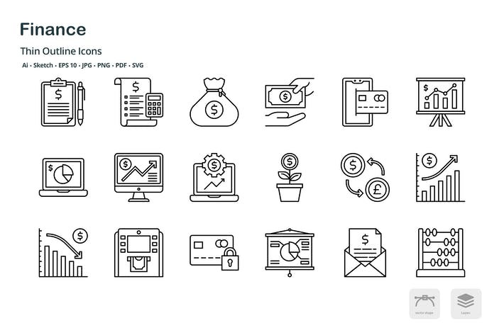 Thumbnail for Money and Finances thin outline icons
