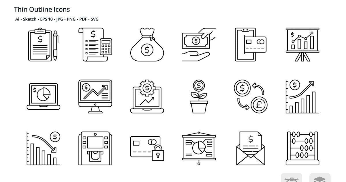 Download Money and Finances thin outline icons by roundicons