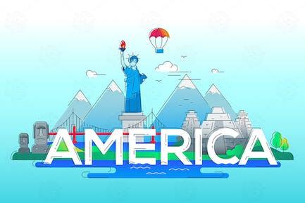 América - ilustración de viaje de línea Vector