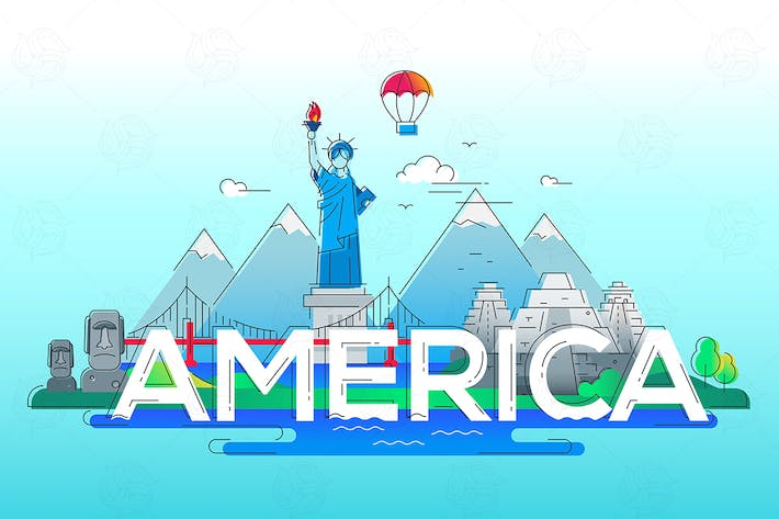 Thumbnail for America - vector line travel illustration