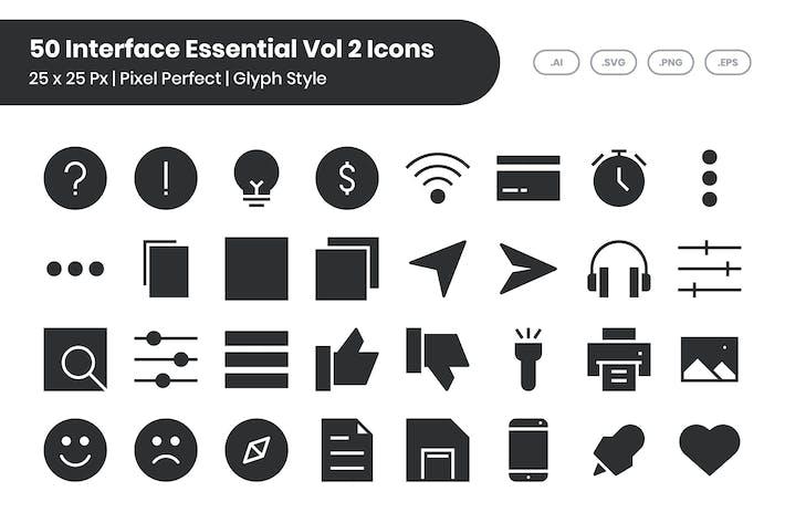 50 основных Иконки интерфейса, том 2 - глиф