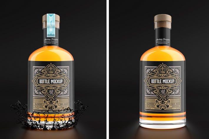 Whiskey Glass Bottle with Splash Mockup