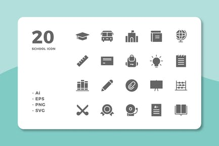 20 School Icons (Solid)