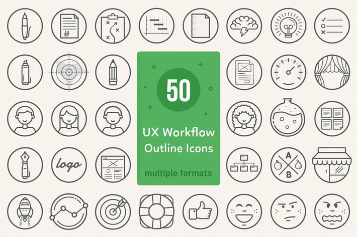 Thumbnail for UX Workflow - Icons Outline Version