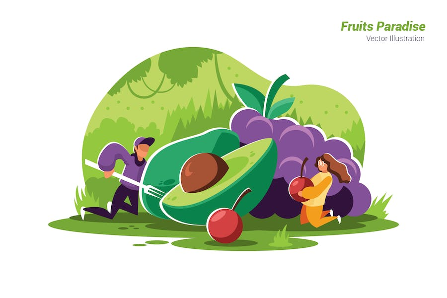Fruits Paradise - Vector Illustration