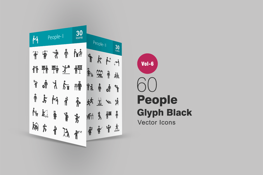 60 People Glyph Icons