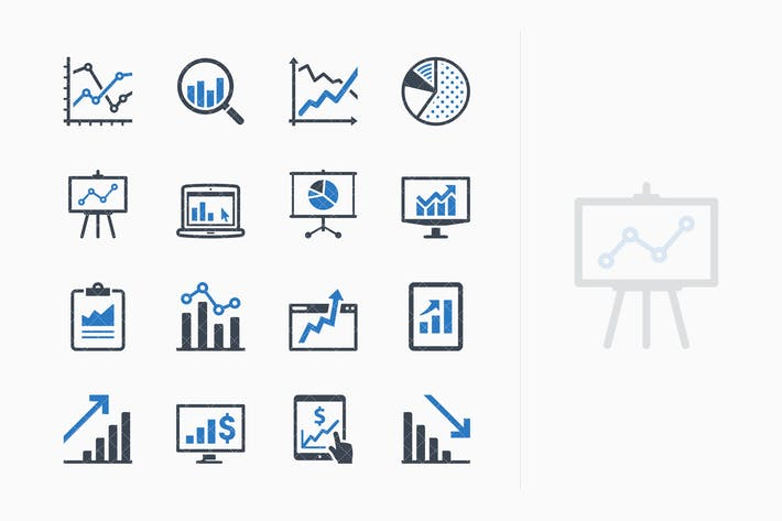 Thumbnail for Business Graphs & Charts Icons - Blue Series