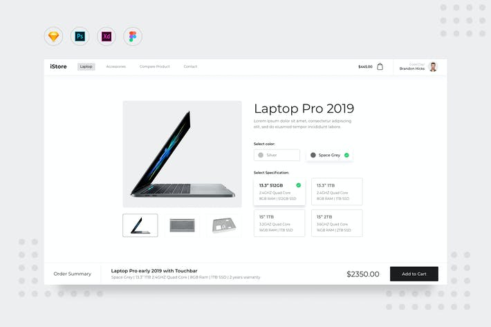 Thumbnail for DailyUI.V8 Laptop Product Detail Page UI Website