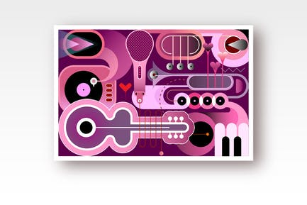 Saturated Purple Shades Abstract Music Background