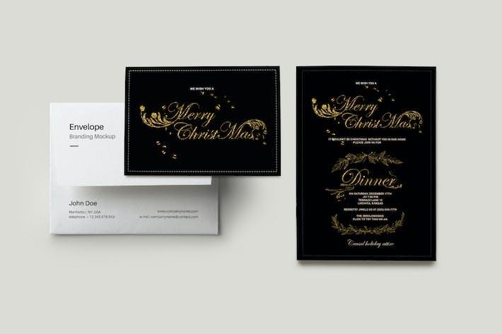 Invitation de souper de Noël en feuille d'or