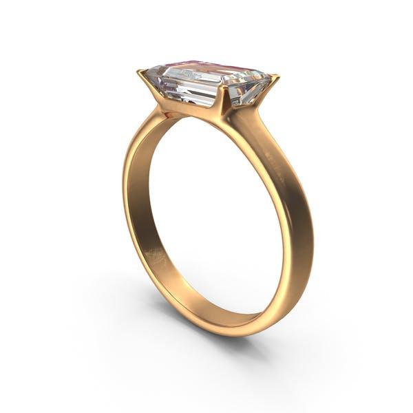 Anillo de Oro c Diamante rectángulo grande