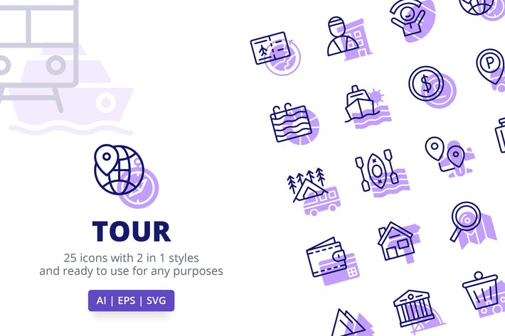Thumbnail for Tour Icons (Line and Solid)