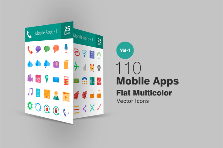 Thumbnail for 110 Mobile Apps Flat Multicolor Icons