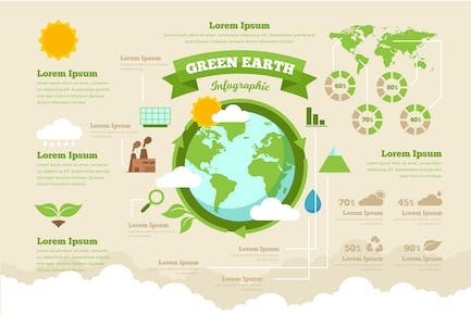 Green Earth Infographic PSD and AI Vector Template