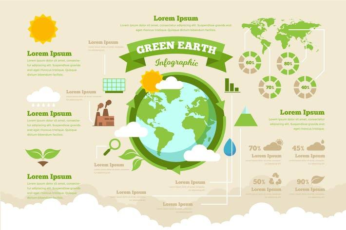 Thumbnail for Green Earth Infographic PSD and AI Vector Template
