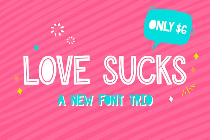 Thumbnail for Love Sucks Font Trio