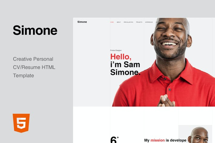 Thumbnail for Simone - Onepage Personal CV/Resume HTML Template