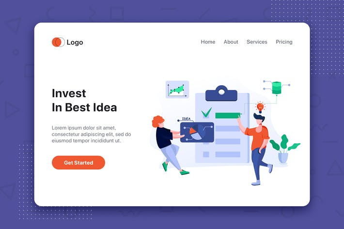 Thumbnail for Invest in best idea landing page website template